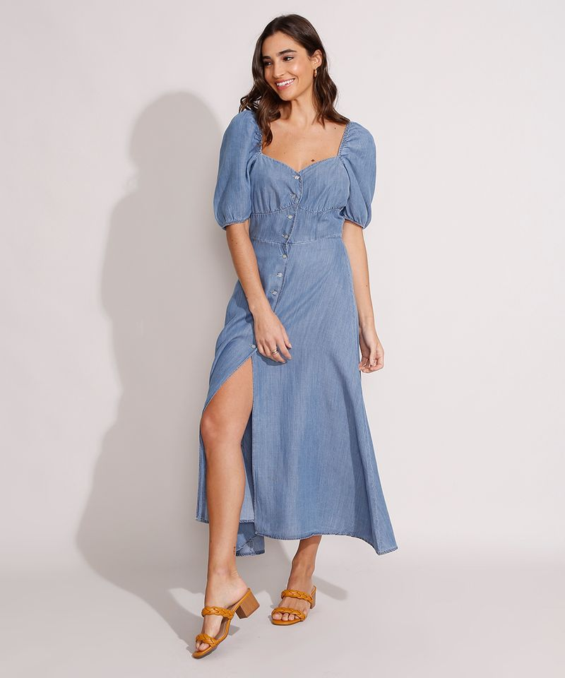 Vestido-Jeans-Midi-Manga-Bufante-com-Botoes-e-Fenda-Azul-Medio-9989000-Azul_Medio_1