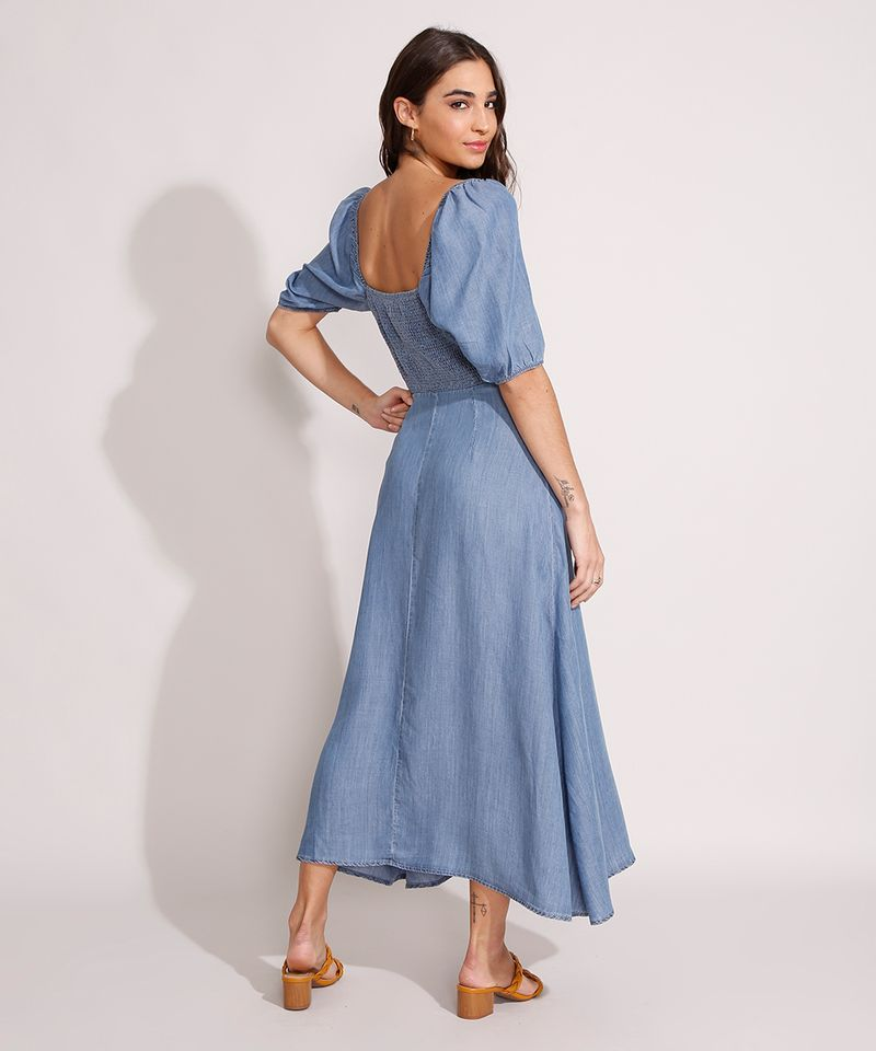 Vestido-Jeans-Midi-Manga-Bufante-com-Botoes-e-Fenda-Azul-Medio-9989000-Azul_Medio_2