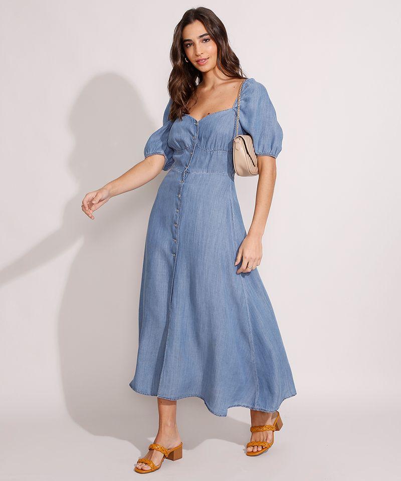 Vestido-Jeans-Midi-Manga-Bufante-com-Botoes-e-Fenda-Azul-Medio-9989000-Azul_Medio_3