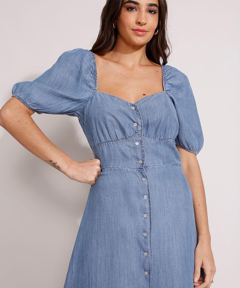 Vestido-Jeans-Midi-Manga-Bufante-com-Botoes-e-Fenda-Azul-Medio-9989000-Azul_Medio_4