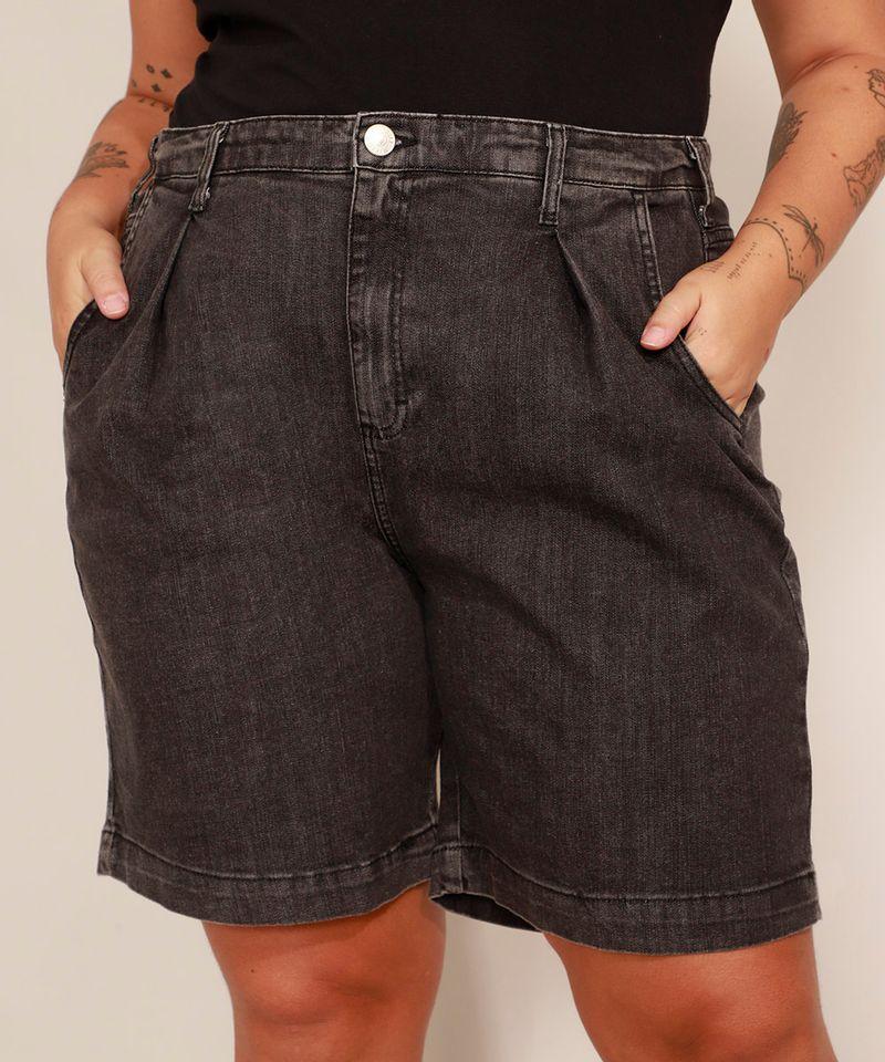 Bermuda-Jeans-Plus-Size-com-Pregas-Cintura-Alta-Mindset-Preta-9993225-Preto_1