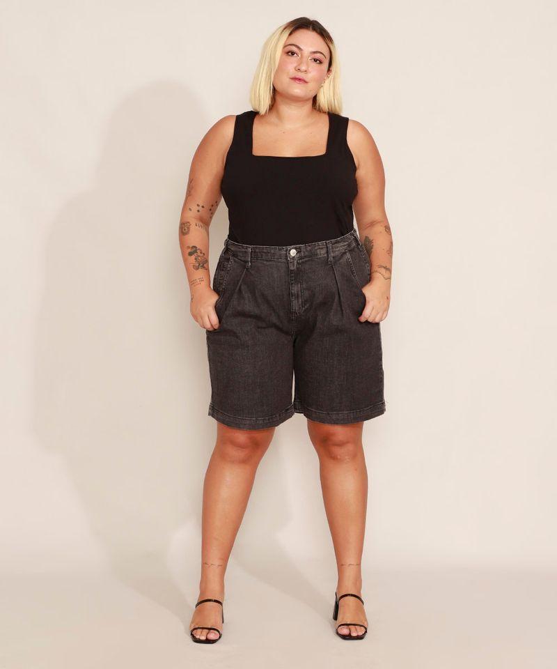 Bermuda-Jeans-Plus-Size-com-Pregas-Cintura-Alta-Mindset-Preta-9993225-Preto_3