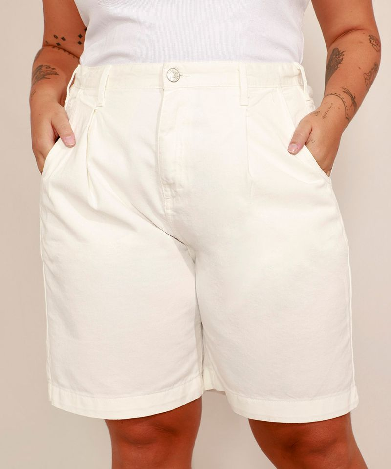 Bermuda-de-Sarja-Plus-Size-com-Pregas-Cintura-Alta-Mindset-Off-White-9993225-Off_White_1