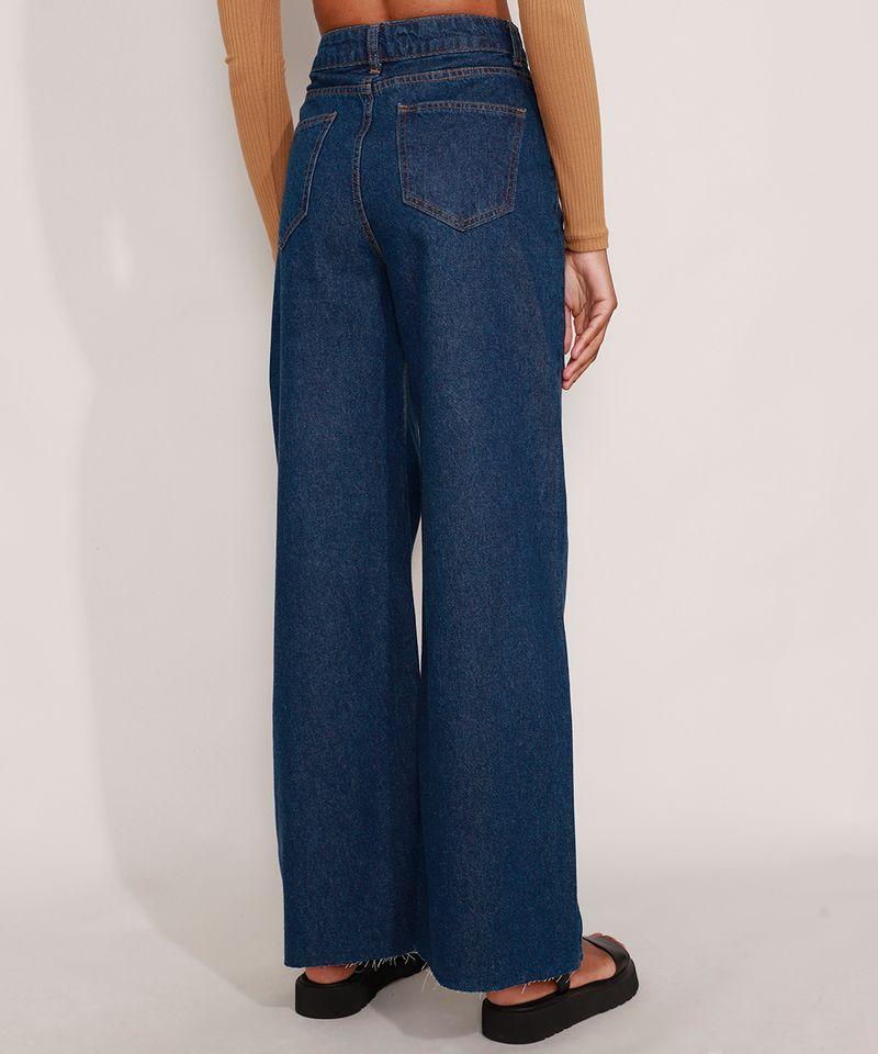 Calca-Wide-Pantalona-Jeans-com-Pences-e-Barra-a-Fio-Cintura-Super-Alta-Azul-Escuro-9992130-Azul_Escuro_2