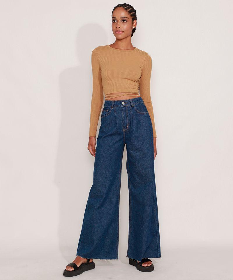 Calca-Wide-Pantalona-Jeans-com-Pences-e-Barra-a-Fio-Cintura-Super-Alta-Azul-Escuro-9992130-Azul_Escuro_3
