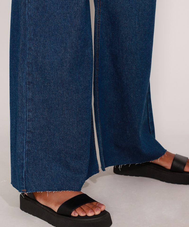 Calca-Wide-Pantalona-Jeans-com-Pences-e-Barra-a-Fio-Cintura-Super-Alta-Azul-Escuro-9992130-Azul_Escuro_5