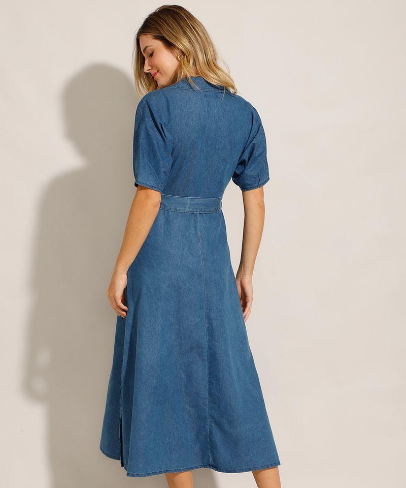 Vestido-Chemise-Jeans-Midi-com-Faixa-de-Amarrar-e-Manga-Curta-Azul-Medio-9992006-Azul_Medio_2