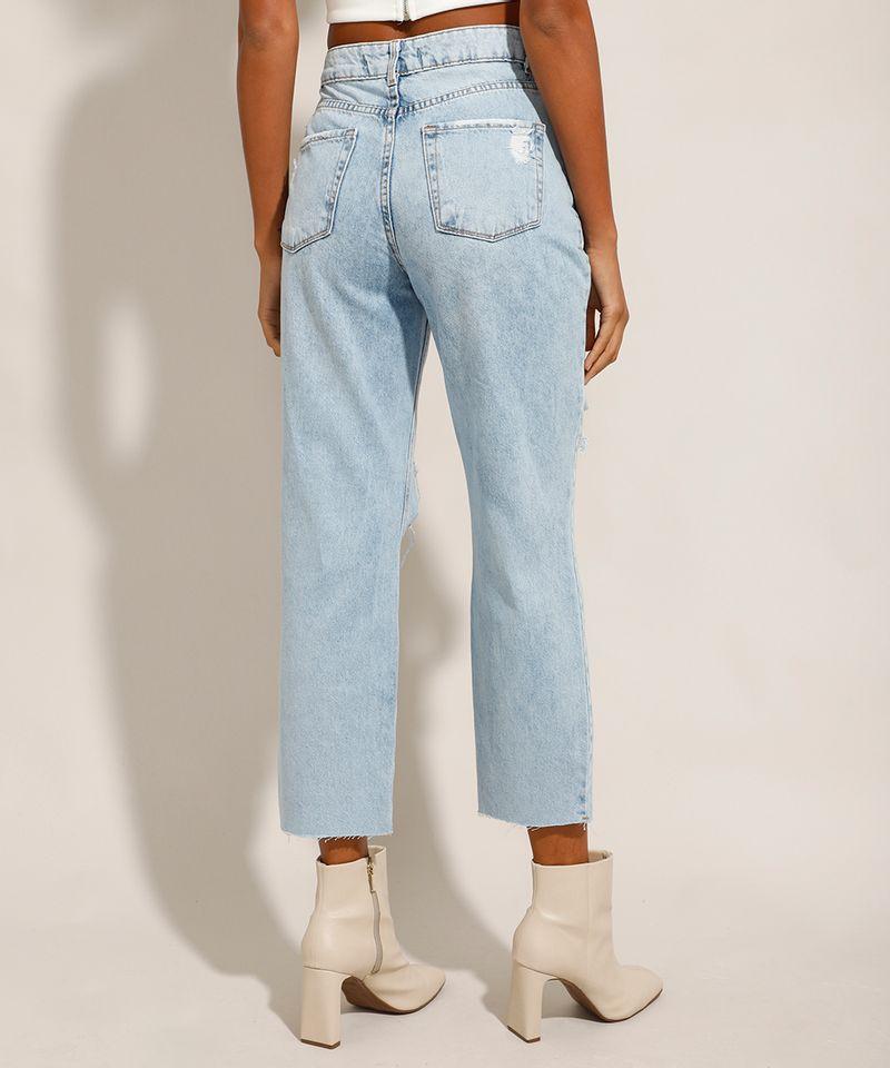 Calca-Reta-Jeans-Tal-Mae-Tal-Filha-com-Rasgos-Cintura-Super-Alta-Azul-Claro-9991737-Azul_Claro_2