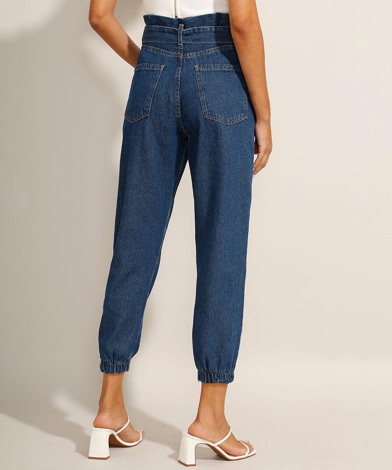 Calca-Jogger-Clochard-Jeans-com-Faixa-para-Amarrar-Cintura-Super-Alta-Azul-Escuro-9991101-Azul_Escuro_2