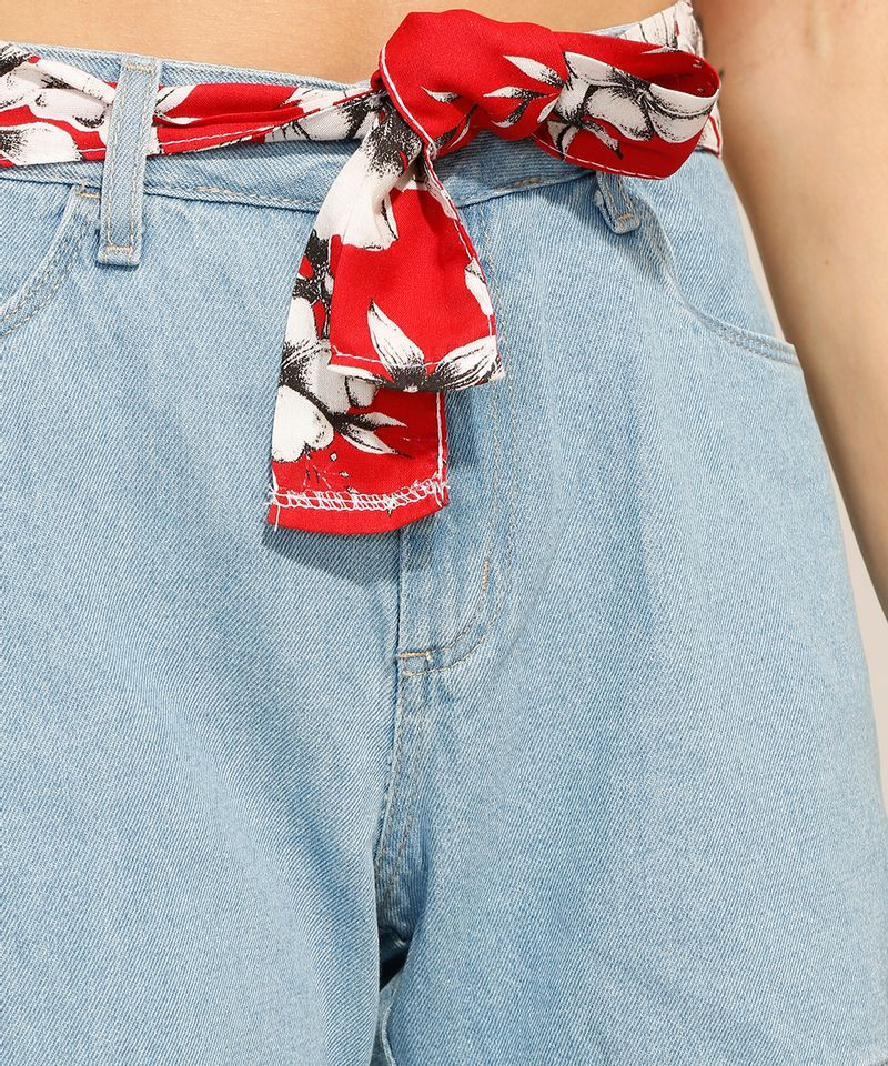 Short-Midi-Jeans-com-Faixa-para-Amarrar-Cintura-Alta-Azul-Claro-9991798-Azul_Claro_4