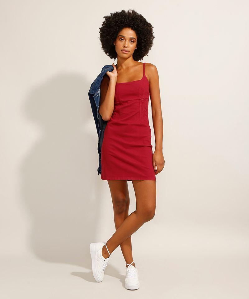 Vestido-de-Sarja-Curto-com-Pences-Alca-Fina-Decote-Reto-Vermelho-9991482-Vermelho_3