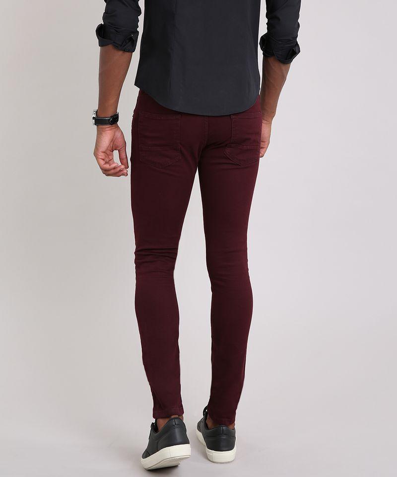 Calca-Masculina-Skinny-em-Sarja-com-Bolsos-Vinho-8398084-Vinho_2