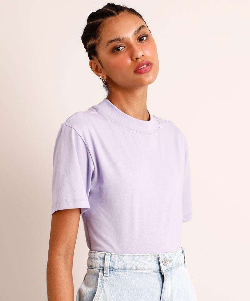 Camiseta-de-Algodao-Manga-Curta-Decote-Redondo--Lilas-1005784-Lilas_1