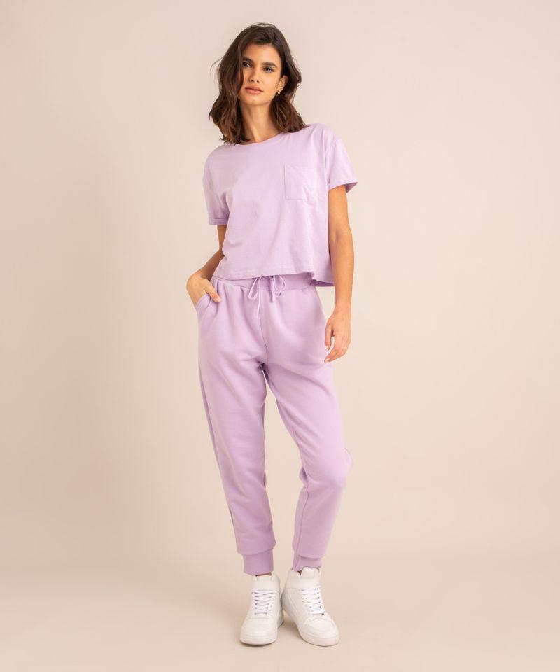 conjunto-basico-de-camiseta-cropped-com-bolso-manga-curta-decote-redondo---calca-jogger-de-moletom-cintura-media--lilas-1006882-Lilas_3
