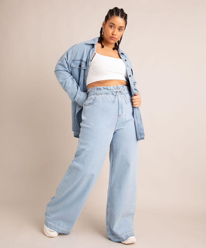 Calca-Wide-Leg--Jeans-Cintura-Super-Alta-com-Barra-Desfiada-Azul-Claro-1006560-Azul_Claro_1