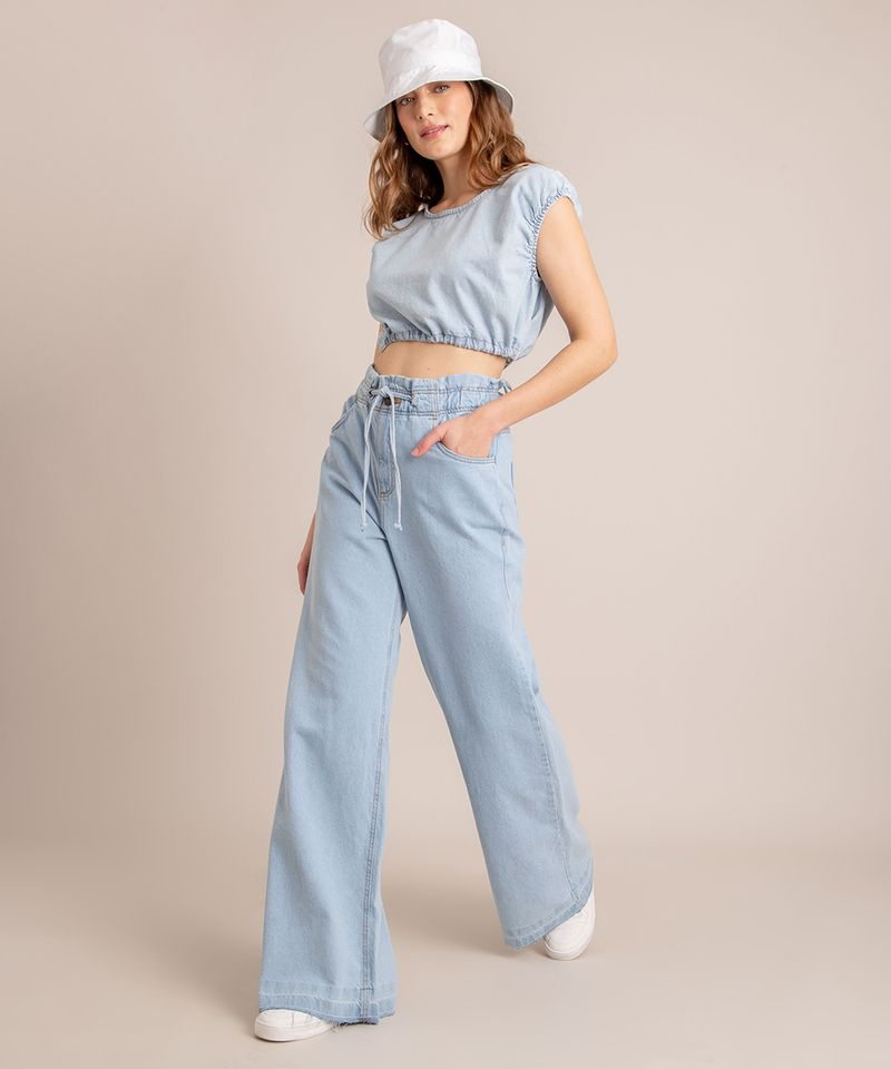 Calca-Wide-Leg--Jeans-Cintura-Super-Alta-com-Barra-Desfiada-Azul-Claro-1006560-Azul_Claro_2
