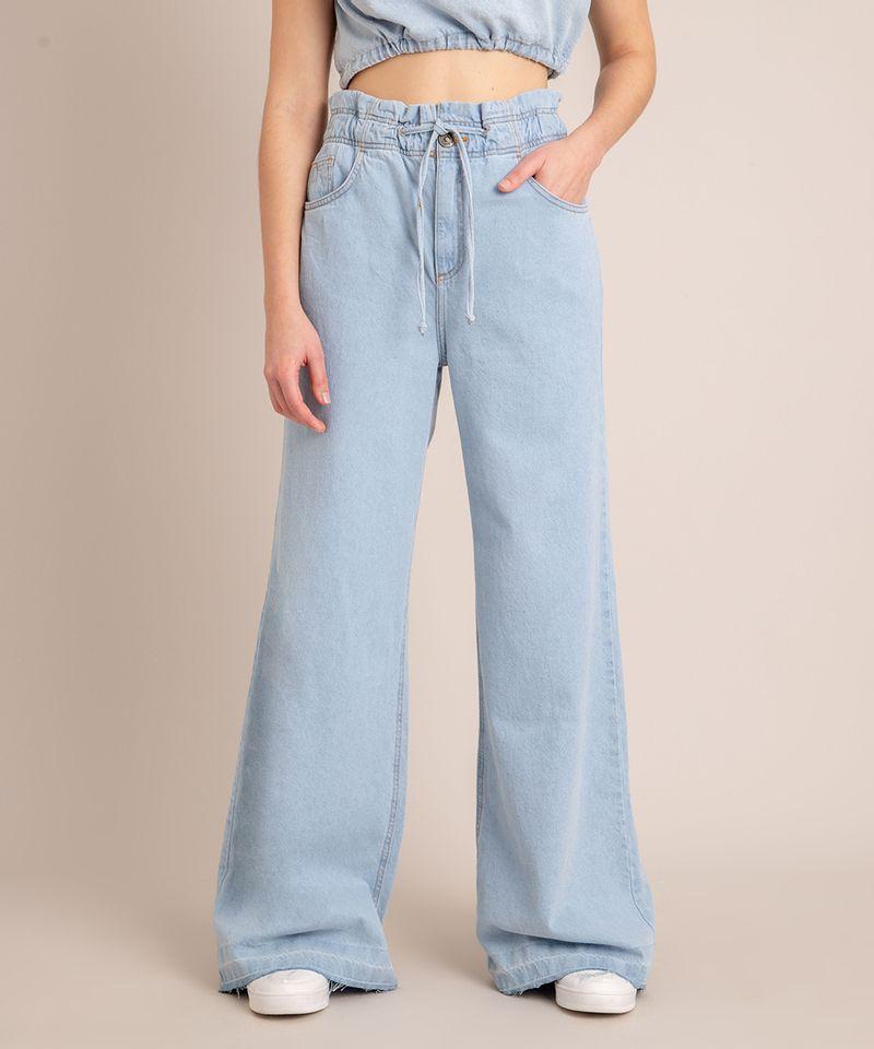 Calca-Wide-Leg--Jeans-Cintura-Super-Alta-com-Barra-Desfiada-Azul-Claro-1006560-Azul_Claro_3