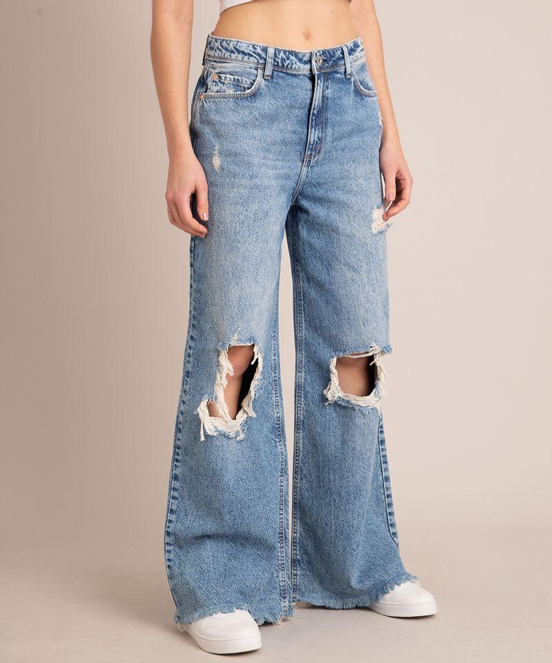 Calca-Wide-Jeans-Marmorizada-Destroyed-Cintura-Baixa-Azul-Medio-1007105-Azul_Medio_2