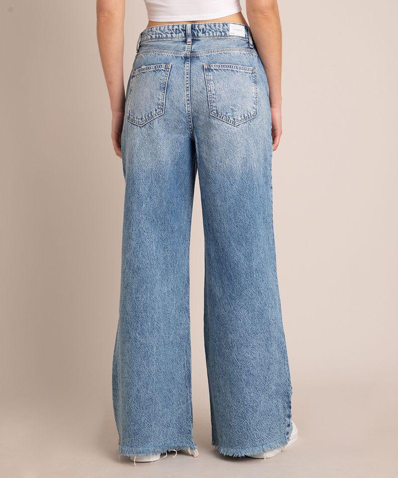 Calca-Wide-Jeans-Marmorizada-Destroyed-Cintura-Baixa-Azul-Medio-1007105-Azul_Medio_3