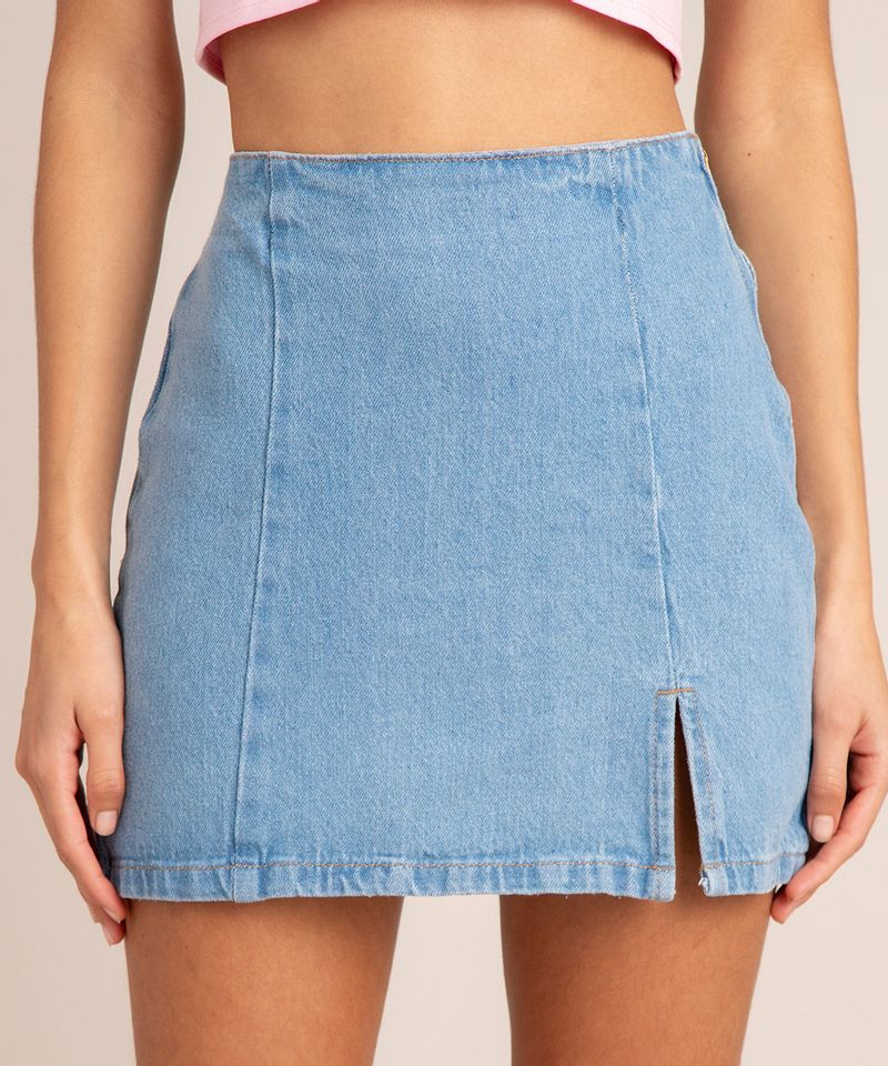 Saia Jeans Curta com Fenda e Recortes vista frontal