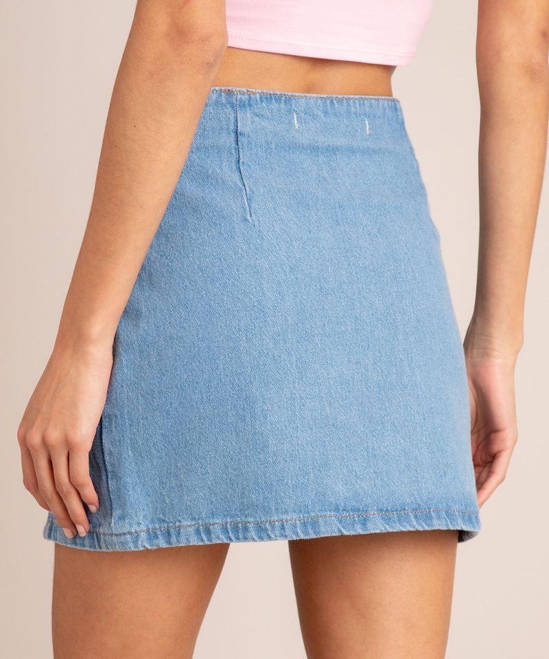 Saia Jeans Curta com Fenda e Recortes vista costas
