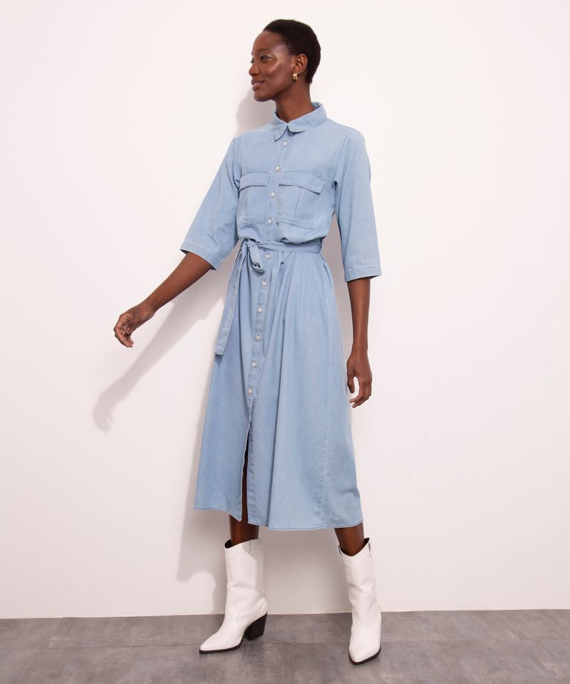 Vestido-Chemise-Midi-Jeans-com-Bolsos-Manga-3-4-Mindset-Azul-Medio-1007302-Azul_Medio_3