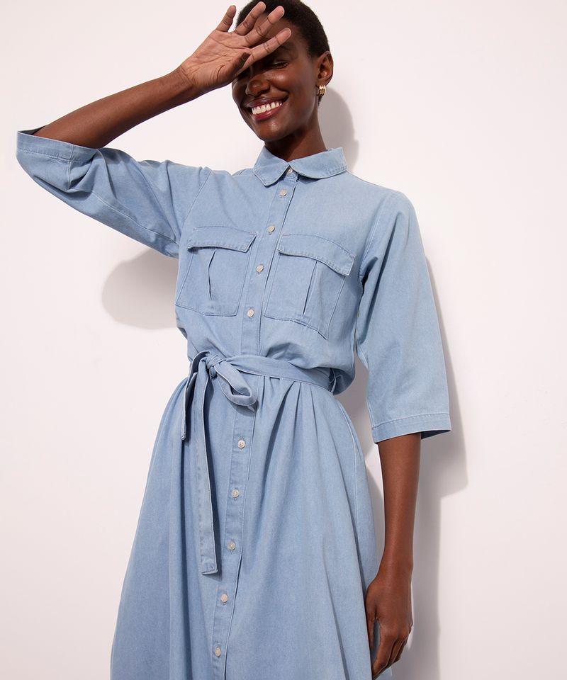 Vestido-Chemise-Midi-Jeans-com-Bolsos-Manga-3-4-Mindset-Azul-Medio-1007302-Azul_Medio_4