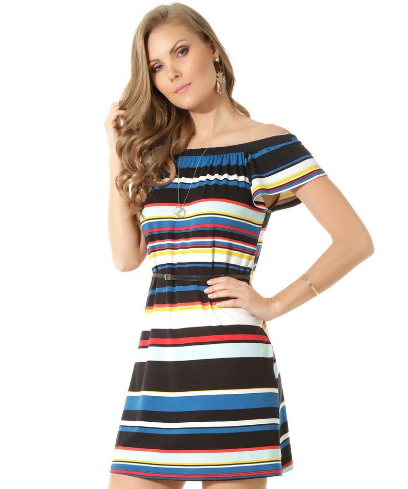 Vestido-Ombro-a-Ombro-Listrado-com-Cinto-Preto-8449346-Preto_1