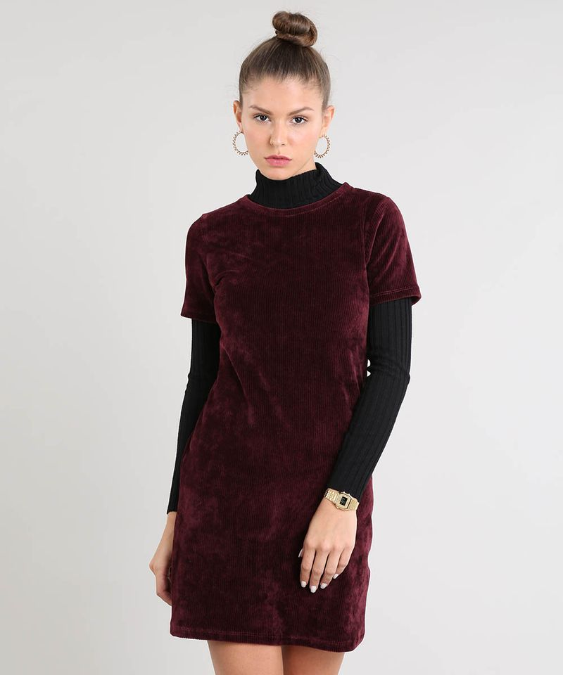 Vestido-Feminino-Curto-em-Veludo-Cotele-Manga-Curta-Vinho-9521608-Vinho_1