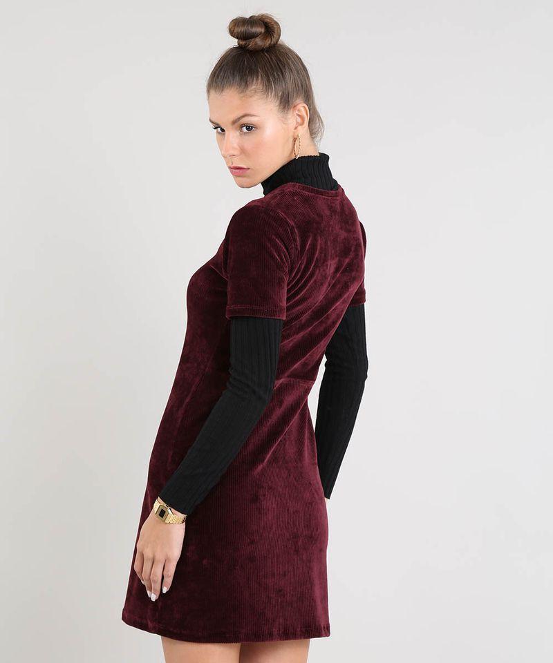Vestido-Feminino-Curto-em-Veludo-Cotele-Manga-Curta-Vinho-9521608-Vinho_2