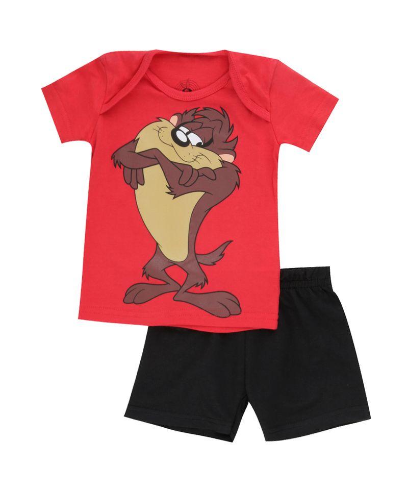 Conjunto-Taz-de-Camiseta-Vermelha---Bermuda-Preta-8378640-Preto_1
