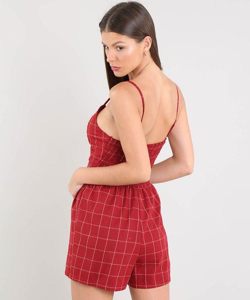 Macaquinho-Feminino-Estampado-Xadrez-com-Vazado-Alca-Fina-Vermelho-9369860-Vermelho_2