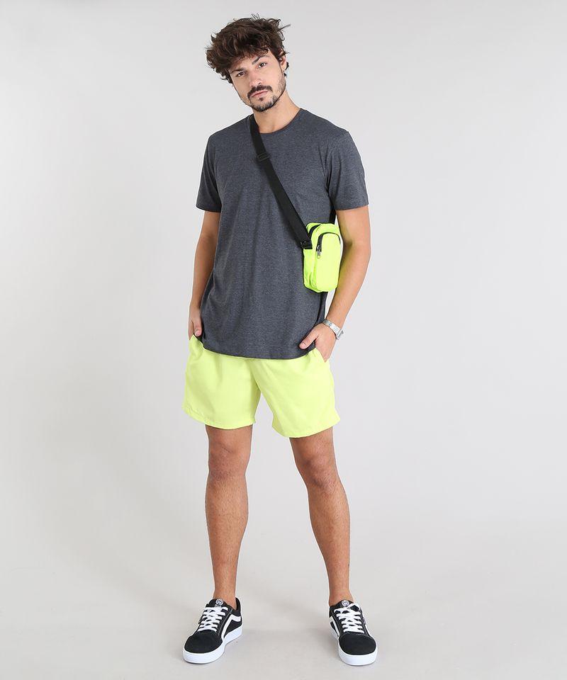 Camiseta-Masculina-com-Estampa-Neon--Paradise-Beach--Manga-Curta-Gola-Careca-Cinza-Mescla-Escuro-9601070-Cinza_Mescla_Escuro_3